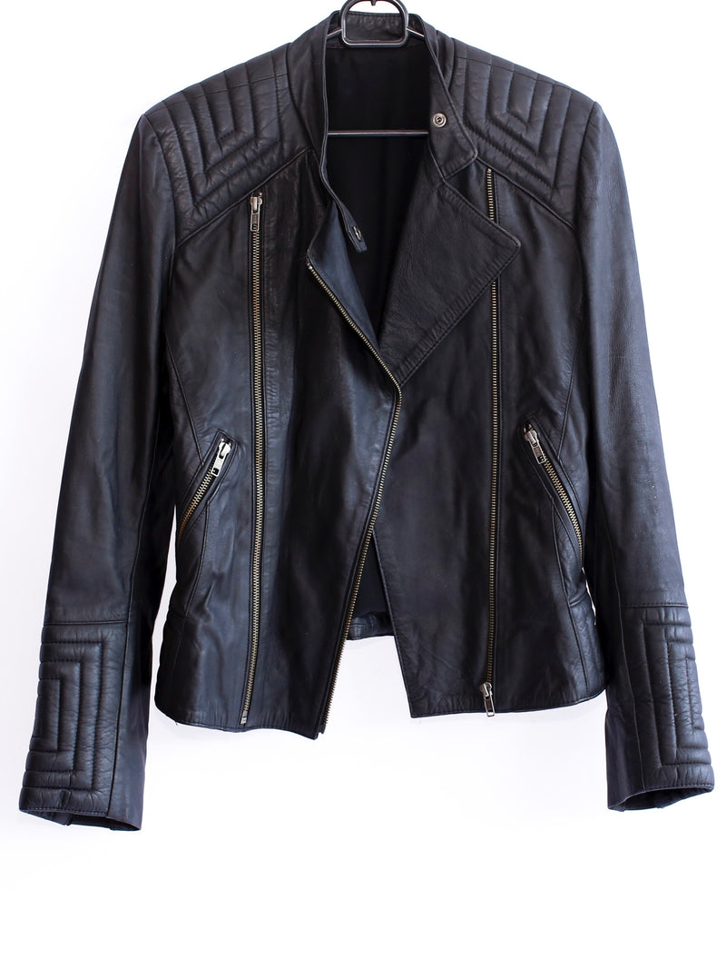 Leather Biker Jacket with Detailing