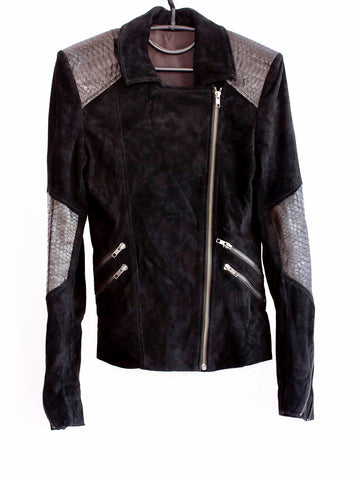 Leather Suede and Snakeskin Biker Jacket Detailing **ROCK THE STAR**