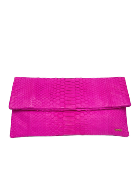 Handmade Snakeskin Clutch Bag in Fushcia