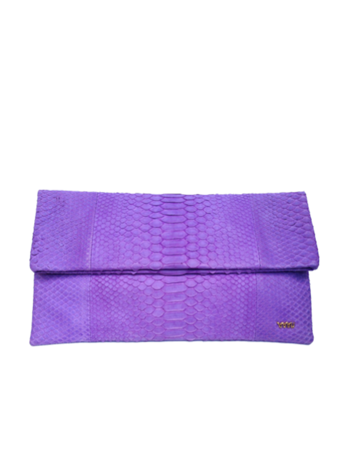 Handmade Snakeskin Clutch Bag in Lilac