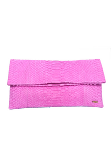 Handmade Snakeskin Clutch Bag in Rose Pink