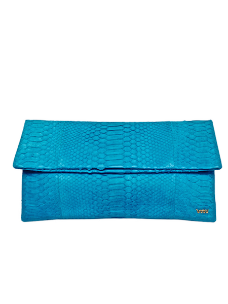 Handmade snakeskin clutch bag in turquoise