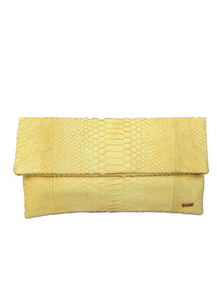 Handmade snakeskin clutch bag in yellow