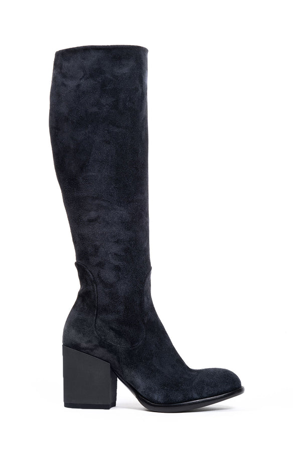 Navy Suede Knee High Boot