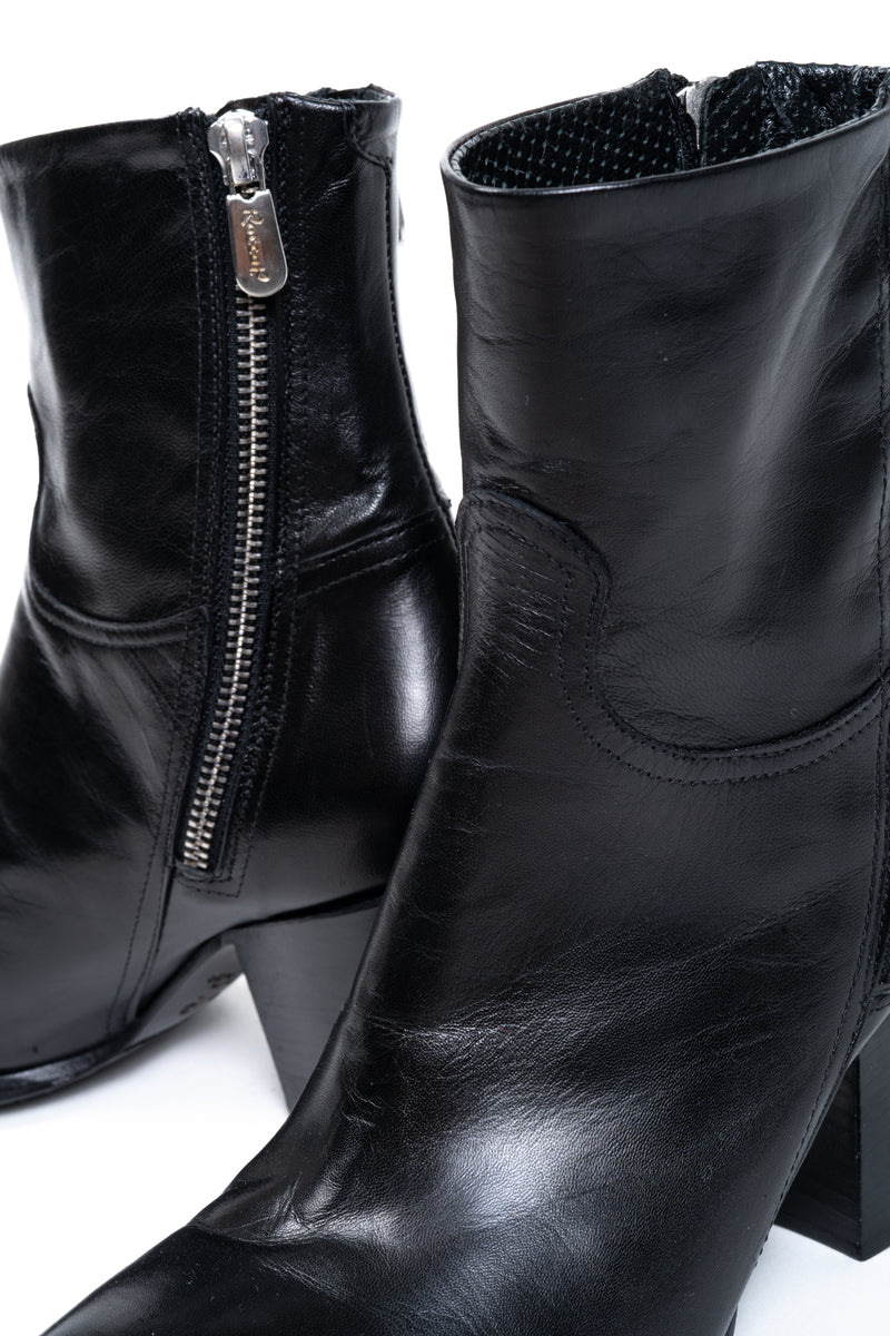 Black Leather Double Zip Boot