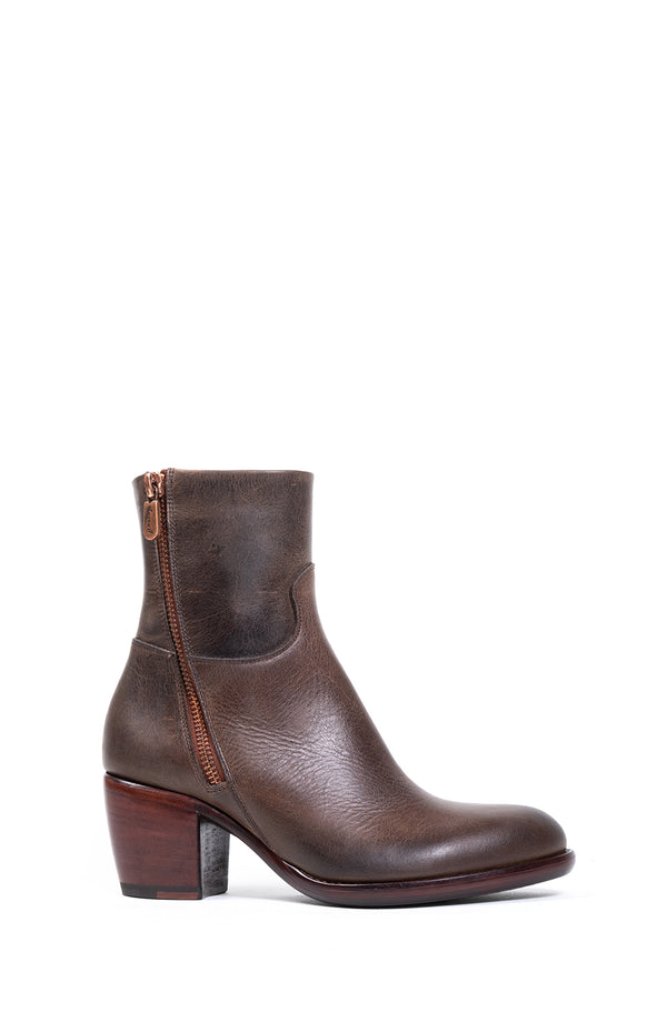 Chocolate Leather Double Zip Boot (4915745095820)