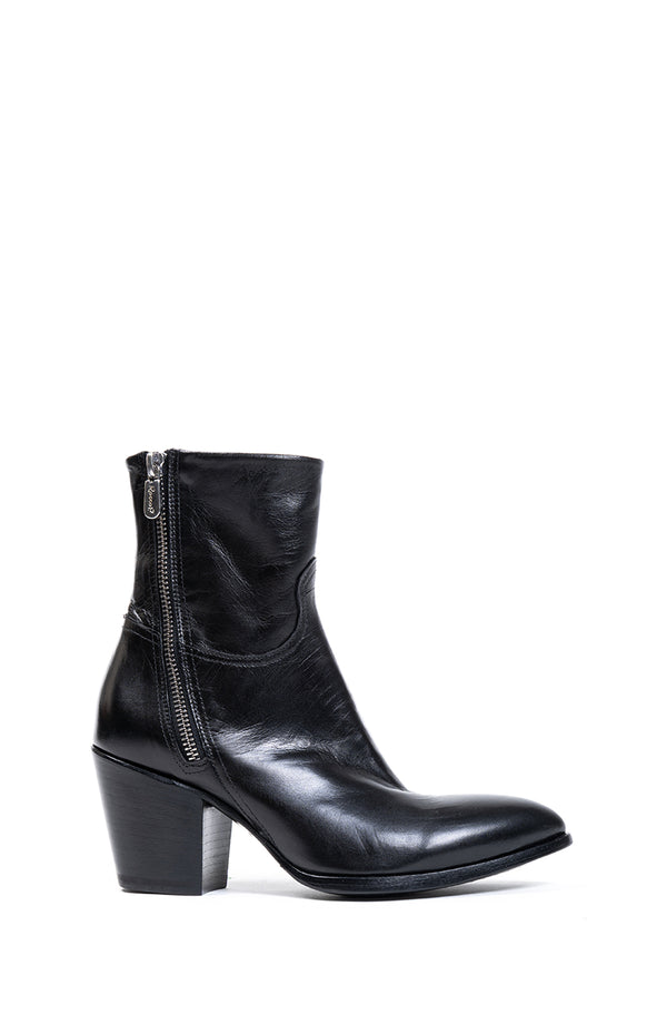 Black Leather Double Zip Boot (4832243548300)