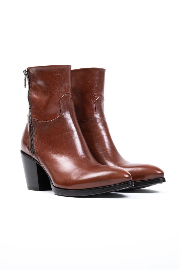 Cognac Leather Double Zip Boot (5192023703692)