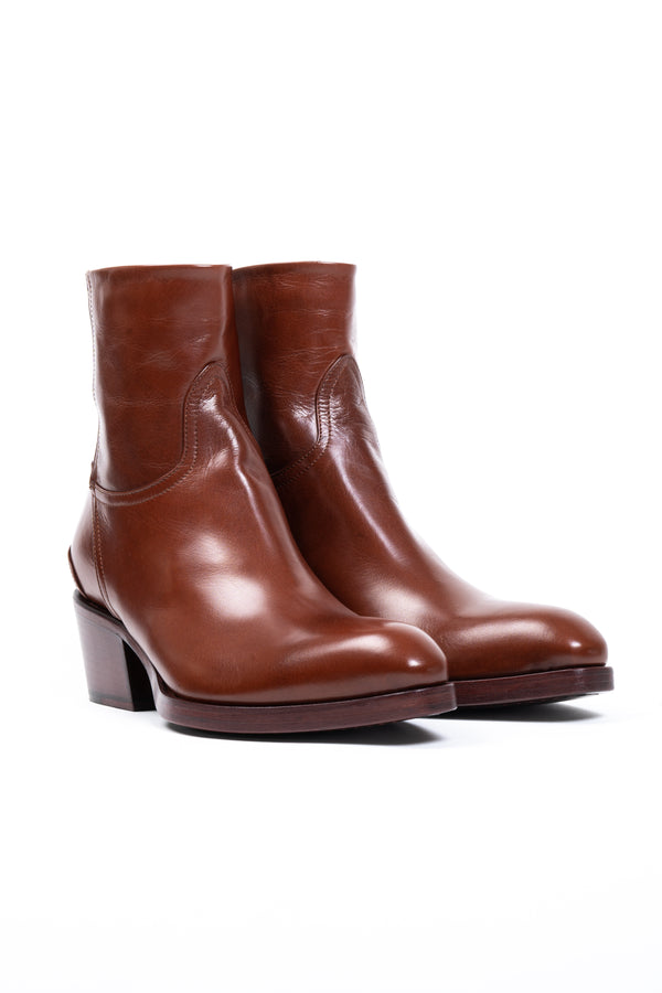 Cognac Back Zipper Boot (5192043692172)