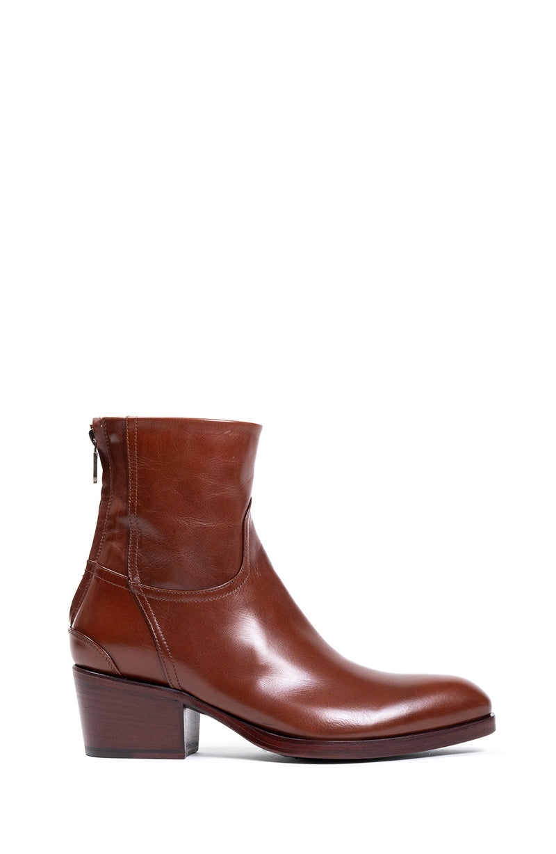 Cognac Back Zipper Boot