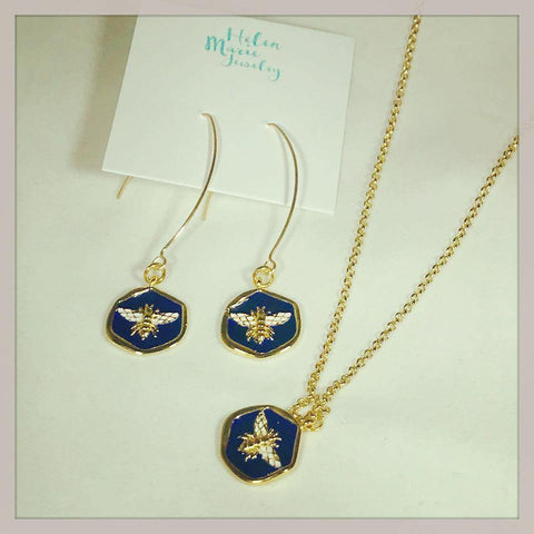 Helen Marie Blue & Gold Bee Earrings & Necklace