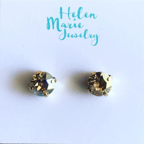 HELEN MARIE SWAROVSKI CRYSTAL 39SS GOLD POST EARRINGS