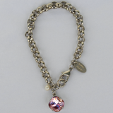 Antique Pink Silver Rolo Chain Bracelet with Freshwater Pearl Accent