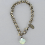 Chrysolite Opal Silver Rolo Chain Bracelet with Freshwater Pearl Accent