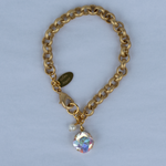 Crystal AB 12MM Gold Chain Rolo Bracelet
