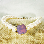 Cyclamen Opal (Lavender) 12MM Heaven Bracelet Gold Setting