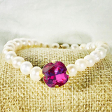 Fuchsia 12MM Heaven Bracelet Gold Setting