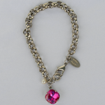 Fuchsia Silver Rolo Chain Bracelet with Freshwater Pearl Accent