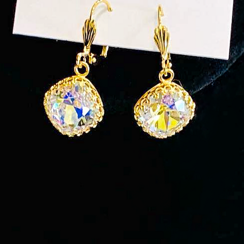 Helen Marie Gold Princess Setting 12MM Swarovski Crystal Lever Back Dangle Earrings