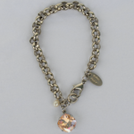 Golden Shadow Silver Rolo Chain Bracelet with Freshwater Pearl Accent