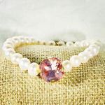 Light Rose Peach 12MM Heaven Bracelet Gold Setting