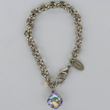 Mardi Gras Silver Rolo Chain Bracelet with Freshwater Pearl Accent