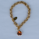 Smoked Topaz 12MM Gold Chain Rolo Bracelet