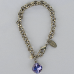 Tanzanite Silver Rolo Chain Bracelet with Freshwater Pearl Accent