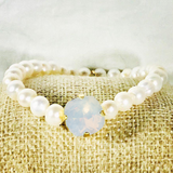 White Opal 12MM Heaven Bracelet Gold Setting
