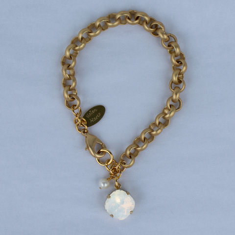 White Opal 12MM Gold Chain Rolo Bracelet