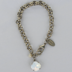 White Opal Silver Rolo Chain Bracelet with Freshwater Pearl Accent