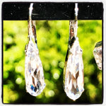 HELEN MARIE CRYSTAL RAINDROP SILVER DANGLE EARRINGS