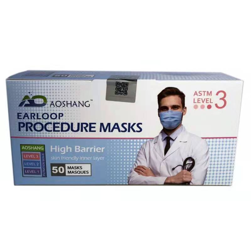 astm level 3 medical face mask, nelson lab face mask tested 3-ply disposable medical face mask PPE surgical masks with 99% meltblown filtration layer 50PCS/Box