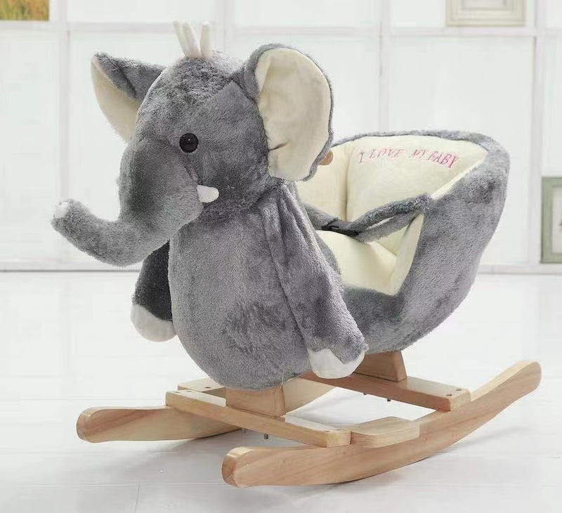 Kids Rocking Horse, Wooden Plush Chair Toy