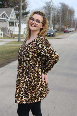 Leopard Tunic Dress, Plus size