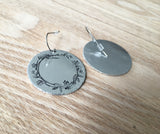 Flower Wreath Stamped Disc Earrings