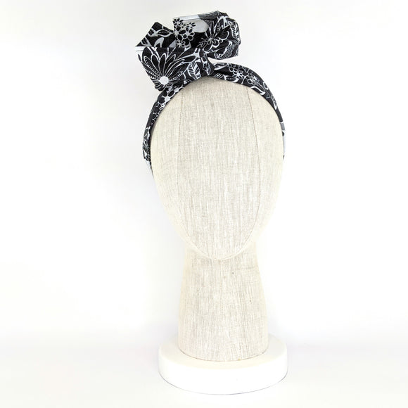 Wire Wrap Headband - Black and White Flowers