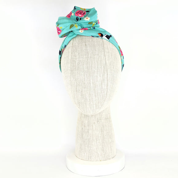 Wire Wrap Headband - Turquoise Blue Birds and Flowers