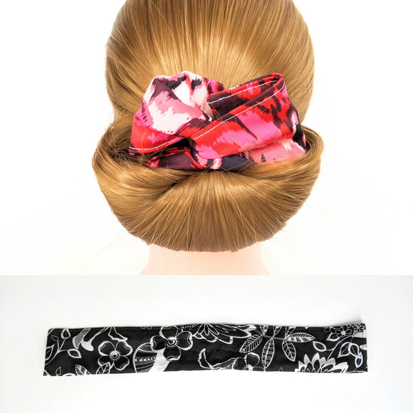 Wire Bun Roll - Black and White Flowers