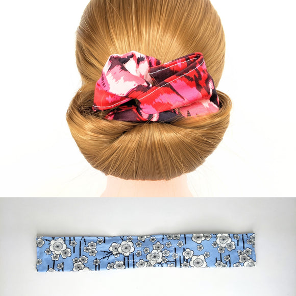 Wire Bun Roll - Blue Cherry Blossoms