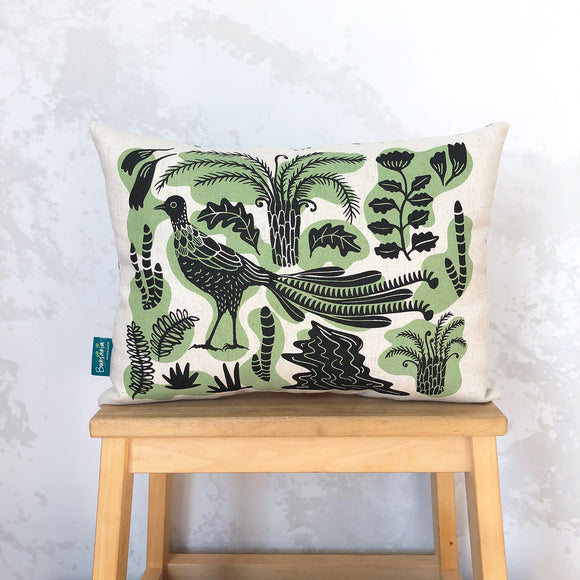Lyrebird cushion