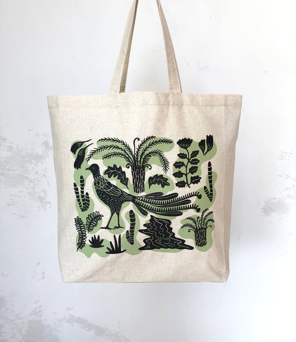 Lyrebird tote bag – sage green