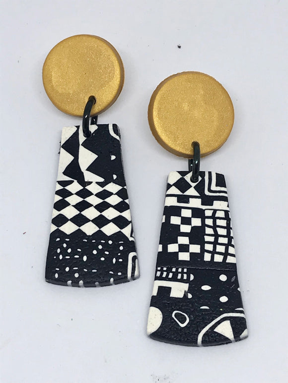 Paradise earrings-black/ white/ gold 141001W
