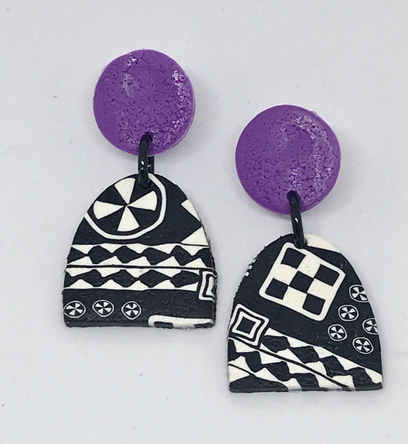 Paradise earrings-black/ white/ purple 141001U