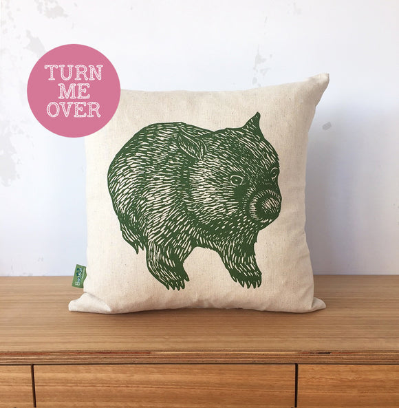 Wombat front + back cushion – eucalyptus