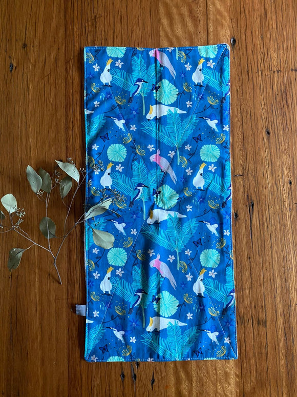 Burp cloth - teal galahs & cockatoos
