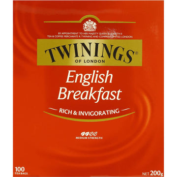 TWININGS ENGLISH BREAKFAST TEA BAGS 100 PACK