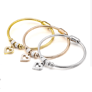 3 Piece Yellow Rose Silver Gold Sparkling Rhinestone Heart Charm Bracelet Bangle Stainless Steel Magnetic Closure - Ella Moore