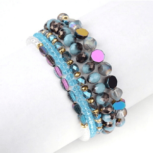 5  Piece Blue Iridescent Natural Stone Crystal Beaded Bracelet Set - Ella Moore
