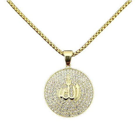 Shimmering CZ Women Gold Allah Necklace